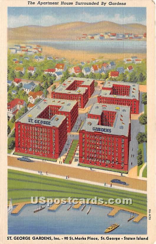 Apartment House, St George Gardens - Staten Island, New York NY Postcard