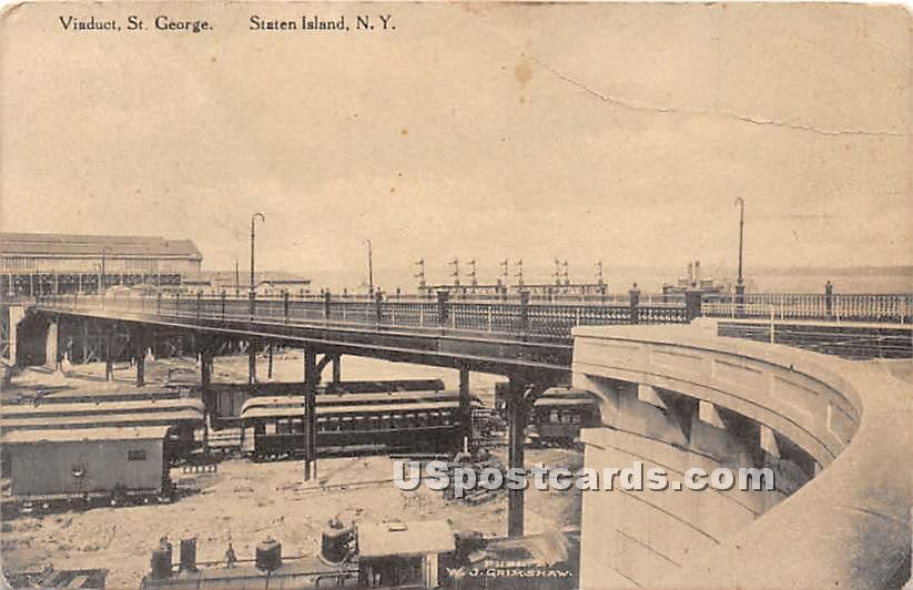 Viaduct, St George - Staten Island, New York NY Postcard