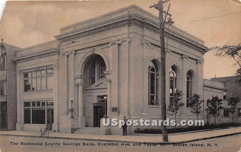 Richmond County Savings Bank - Staten Island, New York NY Postcard
