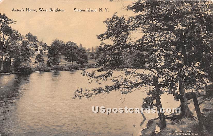 Actor's Home, West Brighton - Staten Island, New York NY Postcard