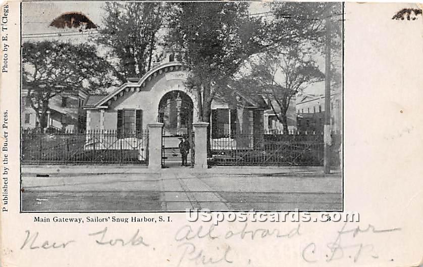Main Gateway, Sailor's Snug Harbor - Staten Island, New York NY Postcard