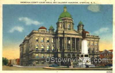 Columbus Monument - Syracuse, New York NY Postcard