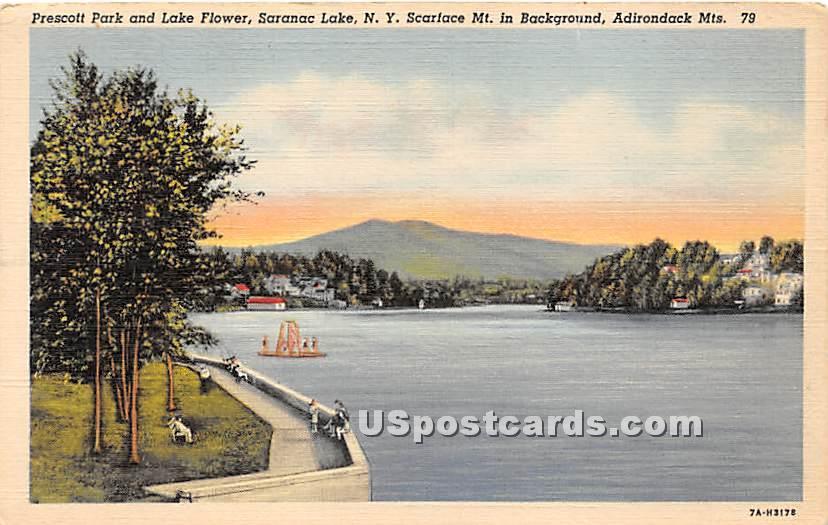 Prescott Park & Lake Flower - Saranac Lake, New York NY Postcard