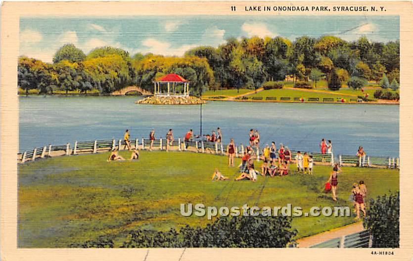Lake in Onondaga Park - Syracuse, New York NY Postcard