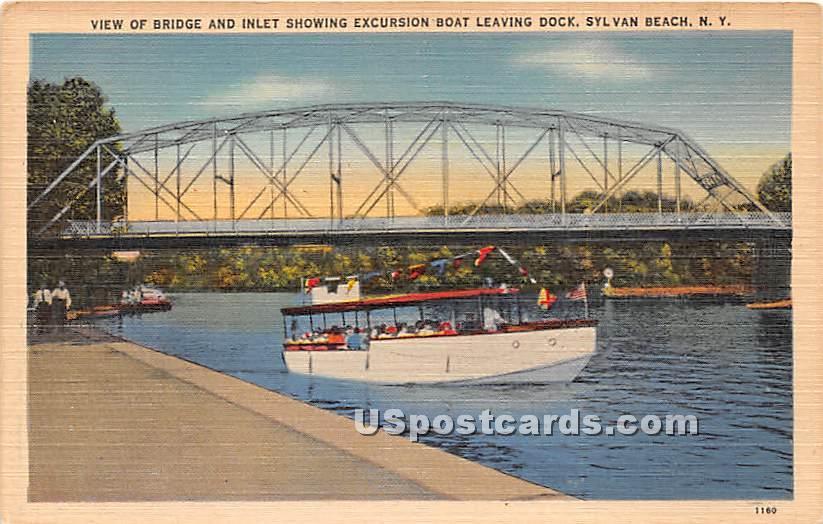Bridge, Excursion Boat - Sylvan Beach, New York NY Postcard