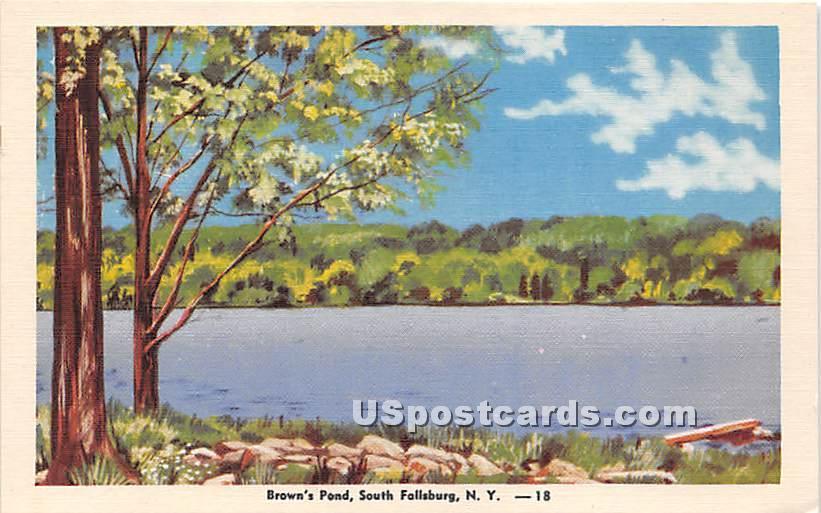 Brown's Pond - South Fallsburg, New York NY Postcard