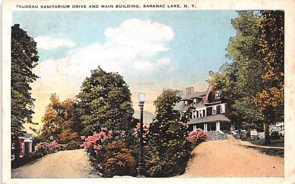 Trudeau Sanitarium Drive Saranac Lake, New York Postcard