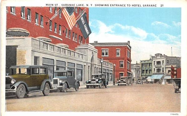 Main Street Saranac Lake, New York Postcard