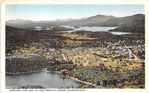 Village from Mount Baker Saranac Lake, New York Postcard