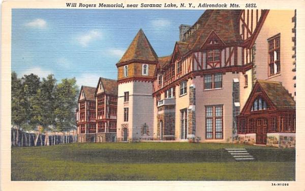 Will Rogers Memorial Saranac Lake, New York Postcard