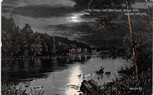Village from Lake Flower Saranac Lake, New York Postcard