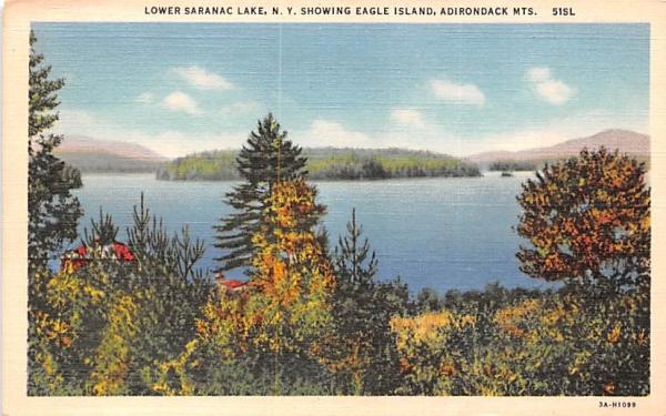 Eagle Island Saranac Lake, New York Postcard