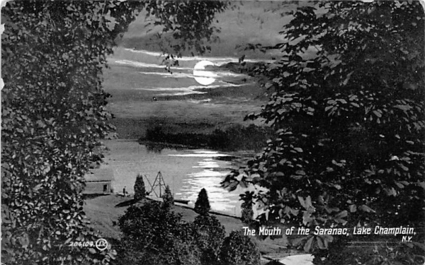Mouth of the Saranac Saranac Lake, New York Postcard