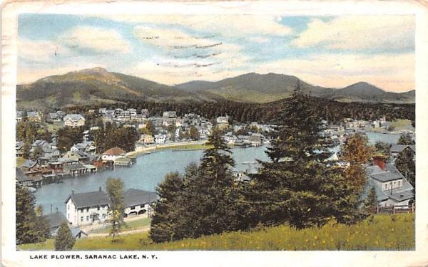 Lake Flower Saranac Lake, New York Postcard