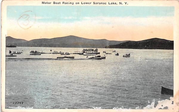 Motor Boat Racing Saranac Lake, New York Postcard