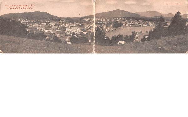 Bird's Eye View, double card Saranac Lake, New York Postcard