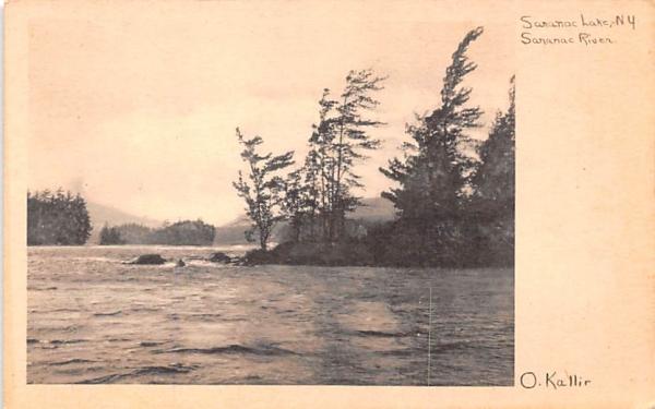 Saranac River Saranac Lake, New York Postcard