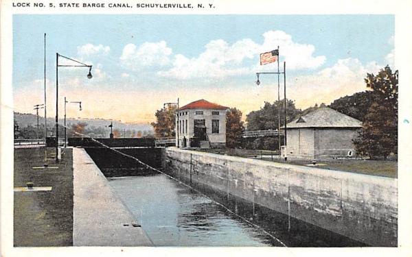 Lock No 5 Schuylerville, New York Postcard