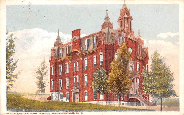 Schuylerville High School New York Postcard