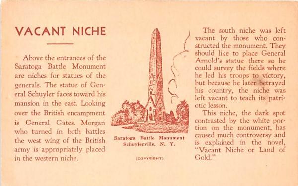 Vacant Niche Schuylerville, New York Postcard
