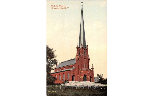 Catholic Church Schuylerville, New York Postcard