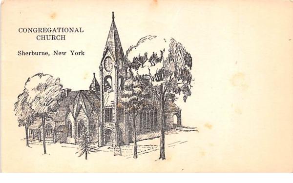 Congregational Church Sherburne, New York Postcard