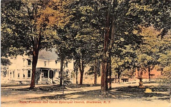 Park, Fountain & Christ Episcopal Church Sherburne, New York Postcard