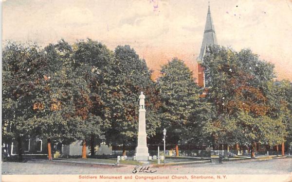 Soldiers Monument Sherburne, New York Postcard