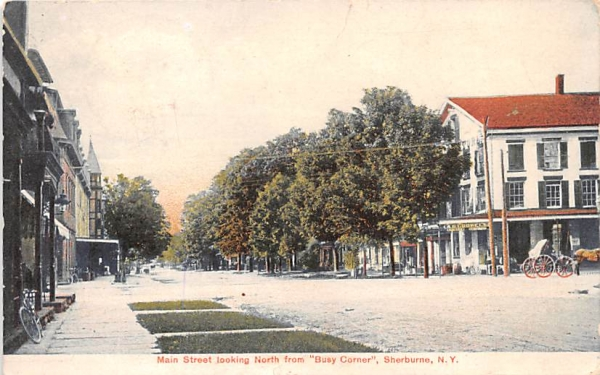 Main Street Sherburne, New York Postcard