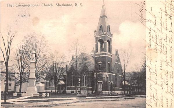 First Congregational Church Sherburne, New York Postcard