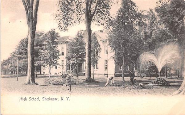 High School Sherburne, New York Postcard