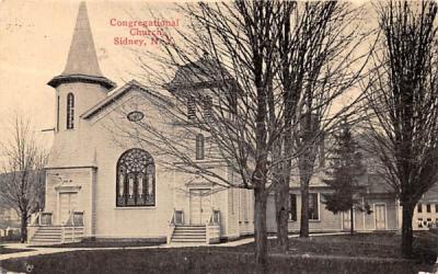 Congregational Church Sidney, New York Postcard