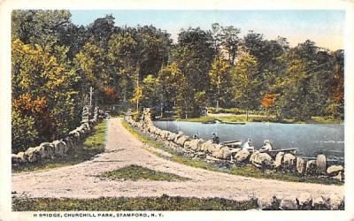 Bridge, Churchill Park Stamford, New York Postcard