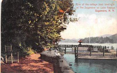 Cottage Boat Landing's Sagamore, New York Postcard
