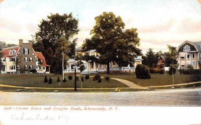 Corner Lenox & Douglas Roads Schenectady, New York Postcard