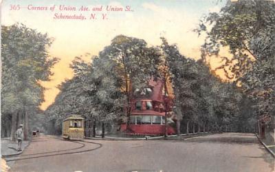 Corners of Union Avenue & Union Street Schenectady, New York Postcard