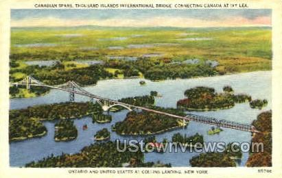 Canadian Spans, Collins Landing - Thousand Islands, New York NY Postcard