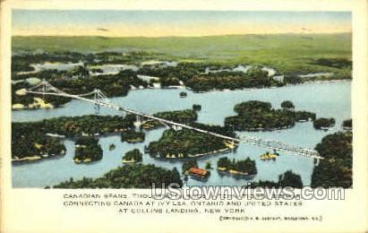 International Bridge, Collins Landing - Thousand Islands, New York NY Postcard