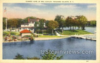 Summer Home of Mrs. Butler - Thousand Islands, New York NY Postcard
