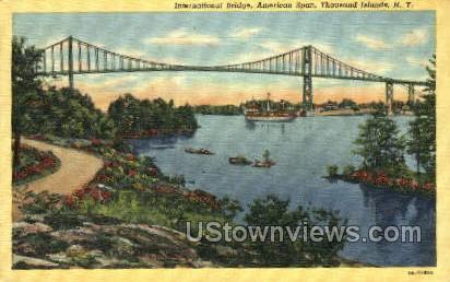 International Bridge, American Span - Thousand Islands, New York NY Postcard