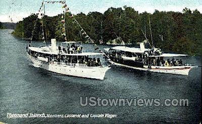Steamers Castanet & Captain Visger - Thousand Islands, New York NY Postcard