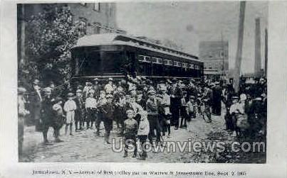 Reproduction - First Trolley Car - Jamestown, New York NY Postcard