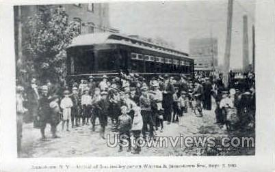 Repro - First Trolley Car - Jamestown, New York NY Postcard