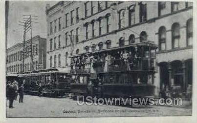 Repro - Double Deck Trolley - Jamestown, New York NY Postcard
