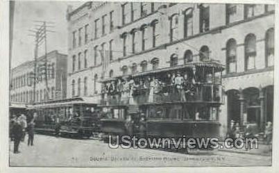 Repro- Double Deck Trolley - Jamestown, New York NY Postcard