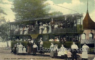 Double Deck Trolley - Chautauqua, New York NY Postcard