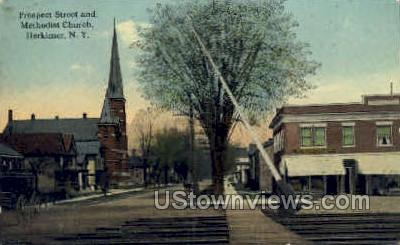 Prospect Street - Herkimer, New York NY Postcard