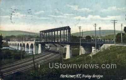 Trolley Bridge - Herkimer, New York NY Postcard