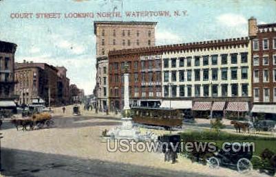 Court Street - Watertown, New York NY Postcard