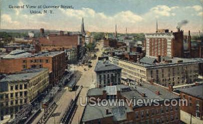 View of Genesee Street - Utica, New York NY Postcard